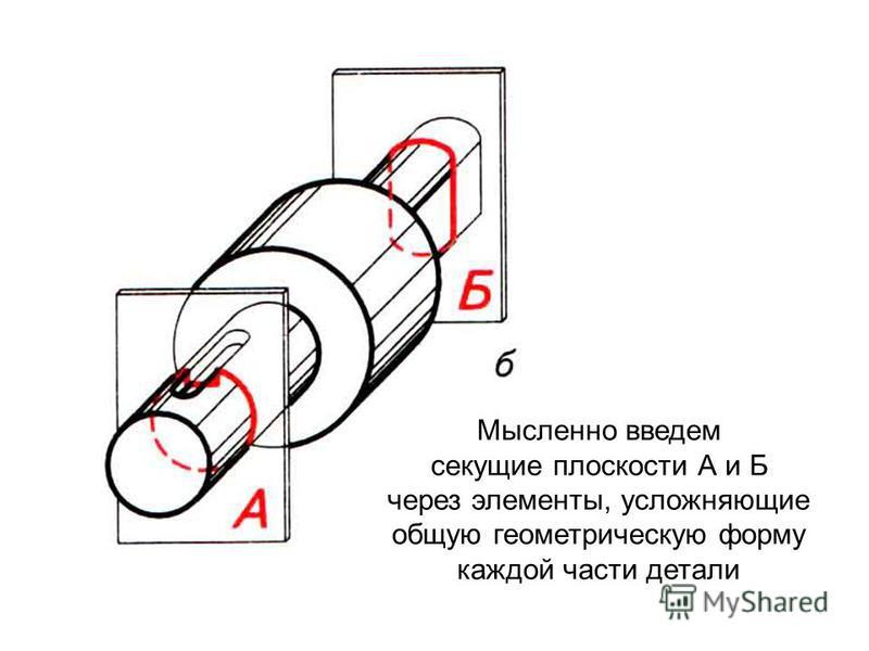 Мысленно введем секущие плоскости А и Б через элементы, усложняющие общую геометрическую форму каждой части детали
