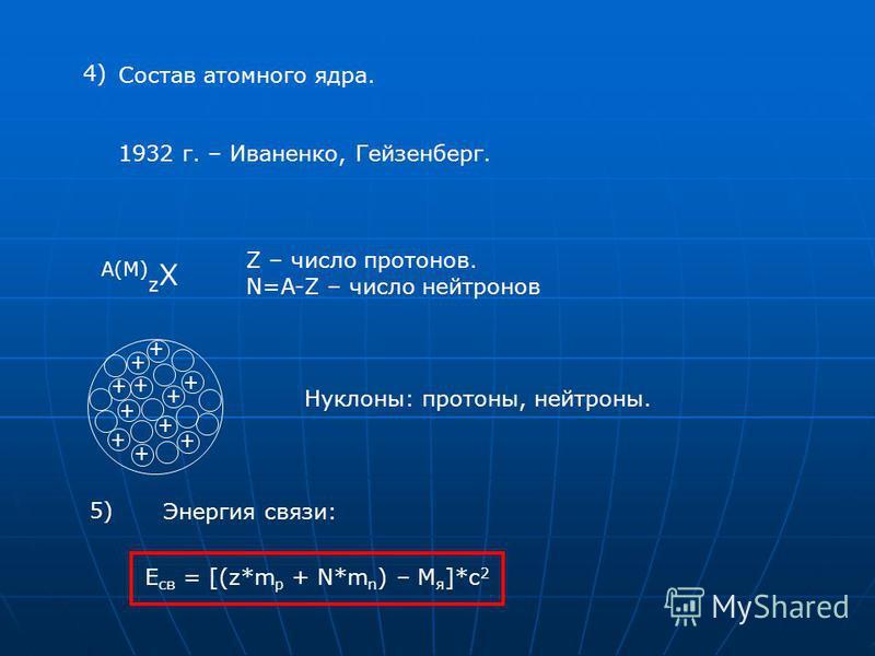 Состав атомного ядра. 1932 г. – Иваненко, Гейзенберг. + + + + + + + + + + + Z – число протонов. N=A-Z – число нейтронов Нуклоны: протоны, нейтроны. 4) A(M) z X 5) Энергия связи: E св = [(z*m p + N*m n ) – M я ]*c 2