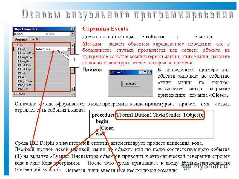 procedure TForm1.Button1Click(Sender: TObject); begin Close; end; Страница Events Две колонки страницы: Пример событие метод Методы задают объектам определенное поведение, что в большинстве случаев проявляется как «ответ» объекта на конкретное событи