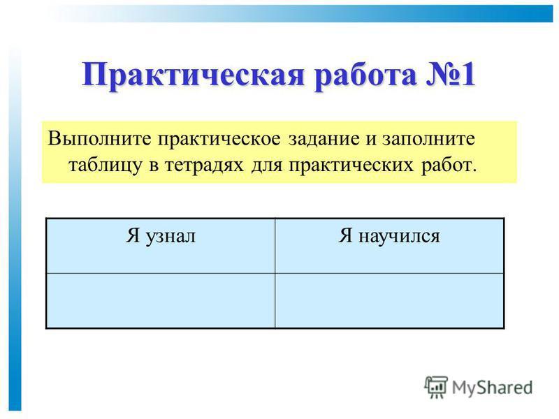 Практическая работа 1 Выполните практическое задание и заполните таблицу в тетрадях для практических работ. Я узналЯ научился