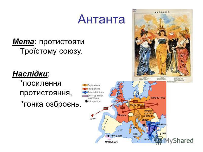 Антанта Мета: протистояти Троїстому союзу. Наслідки: *посилення протистояння, *гонка озброєнь.