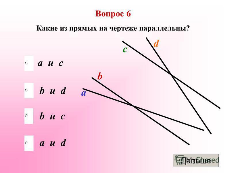 b и c b и d a и d a и c Вопрос 6 Какие из прямых на чертеже параллельны? а b c d