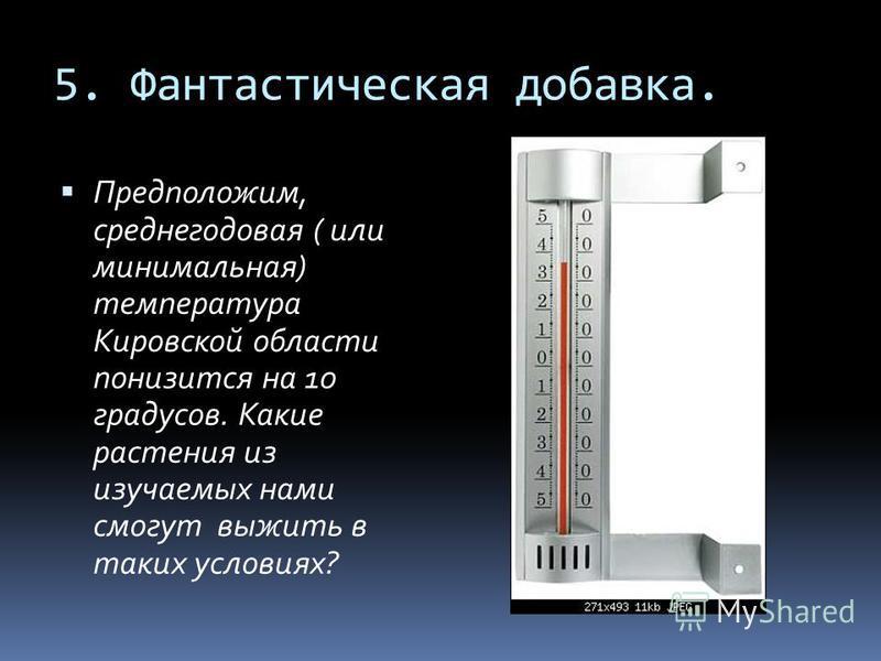 5. Фантастическая добавка. Предположим, среднегодовая ( или минимальная) температура Кировской области понизится на 10 градусов. Какие растения из изучаемых нами смогут выжить в таких условиях?