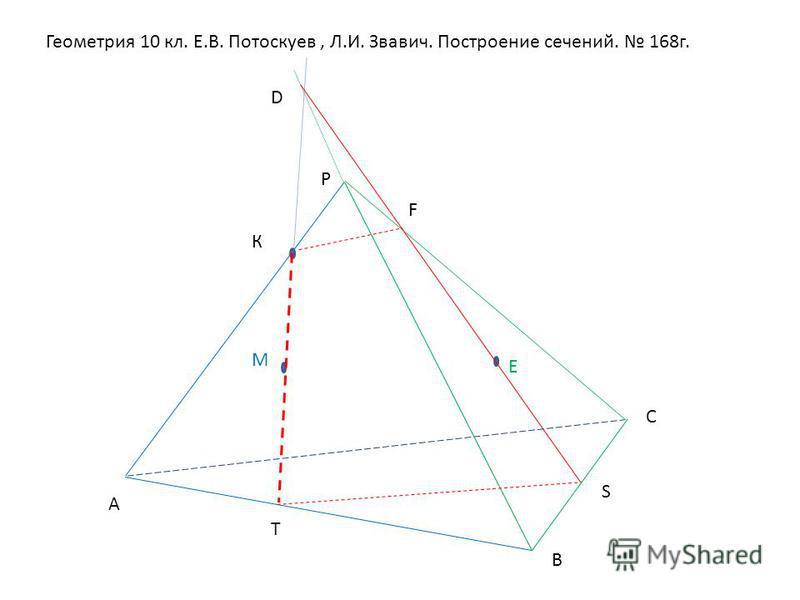 Геометрия 10 кл. Е.В. Потоскуев, Л.И. Звавич. Построение сечений. 168 г. Р А В С М Е К Т D F S