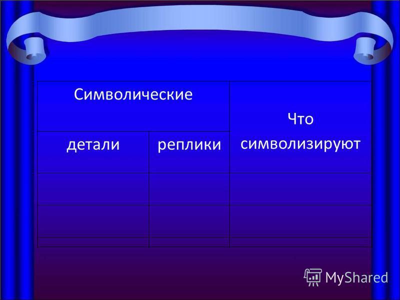 Символические Что символизируют детали реплики