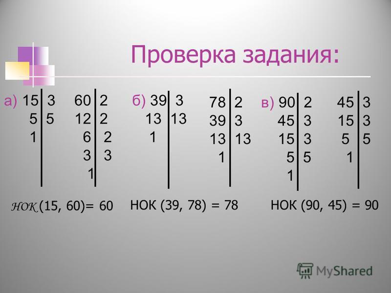 Проверка задания: НОК (90, 45) = 90 НОК (15, 60)= 60 НОК (39, 78) = 78 а) 15 3 5 1 60 2 12 2 6 2 3 3 1 б) 39 3 13 13 1 78 2 39 3 13 1 в) 90 2 45 3 15 3 5 1 45 3 15 3 5 5 1