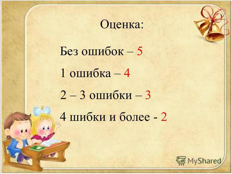Оценка: Без ошибок – 5 1 ошибка – 4 2 – 3 ошибки – 3 4 шибки и более - 2