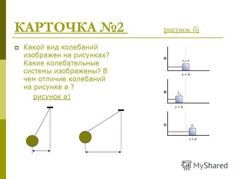 КАРТОЧКА 2 рисунок б) Какой вид колебаний изображен на рисунках? Какие колебательные системы изображены? В чем отличие колебаний на рисунке а ? рисунок а)