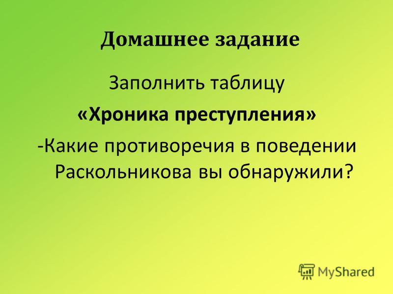 Домашнее задание Заполнить таблицу « Хроника преступления » - Какие противоречия в поведении Раскольникова вы обнаружили ?