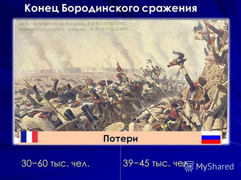 Конец Бородинского сражения Потери 3060 тыс. чел. 3945 тыс. чел.
