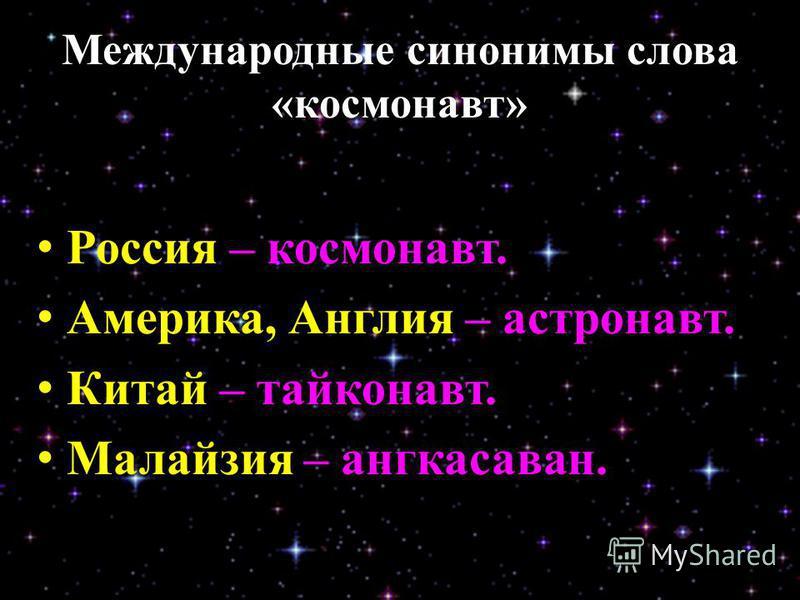 Международные синонимы слова «космонавт» Россия Россия – космонавт. Америка, Англия Америка, Англия – астронавт. Китай Китай – тайконавт. Малайзия Малайзия – ангкасаван.