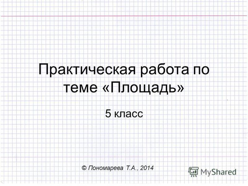 Практическая работа по теме «Площадь» 5 класс © Пономарева Т.А., 2014