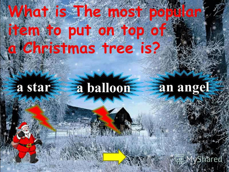 What is The most popular item to put on top of a Christmas tree is? an angela star a balloon