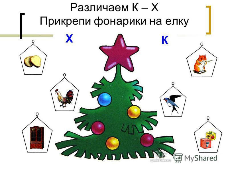Различаем К – Х Прикрепи фонарики на елку Х К