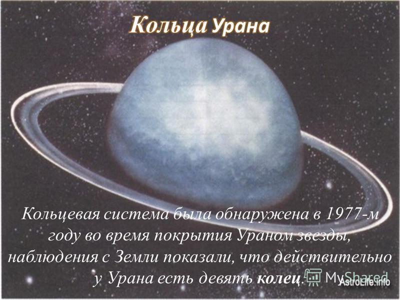 Кольцевая система была обнаружена в 1977-м году во время покрытия Ураном звезды, наблюдения c Земли показали, что действительно у Урана есть девять колец.