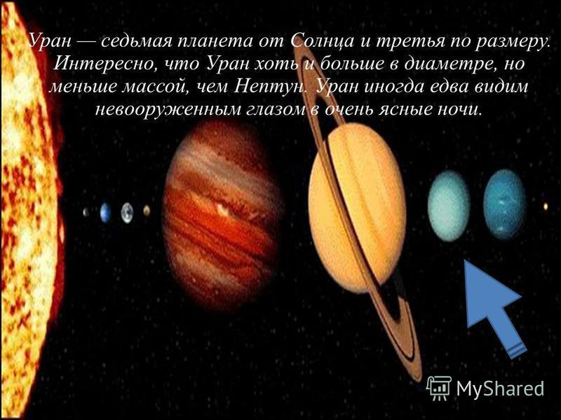 Уран седьмая планета от Солнца и третья по размеру. Интересно, что Уран хоть и больше в диаметре, но меньше массой, чем Нептун. Уран иногда едва видим невооруженным глазом в очень ясные ночи.