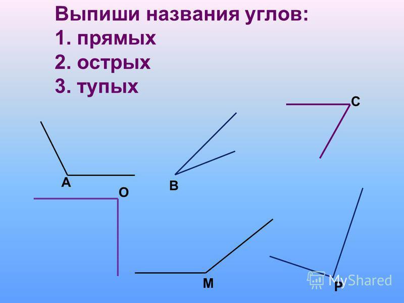 Выпиши названия углов: 1. прямых 2. острых 3. тупых А В С О М Р