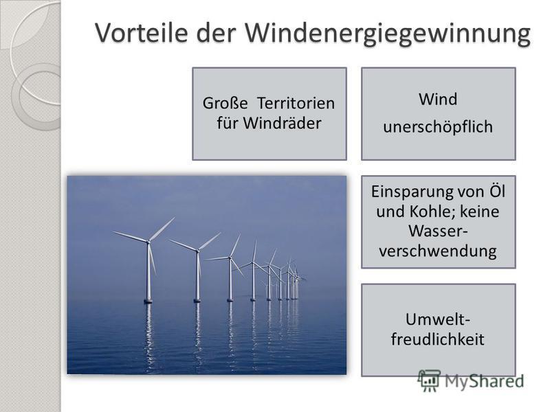 Vorteile der Windenergiegewinnung Große Territorien für Windräder Wind unerschöpflich Einsparung von Öl und Kohle; keine Wasser- verschwendung Umwelt- freudlichkeit