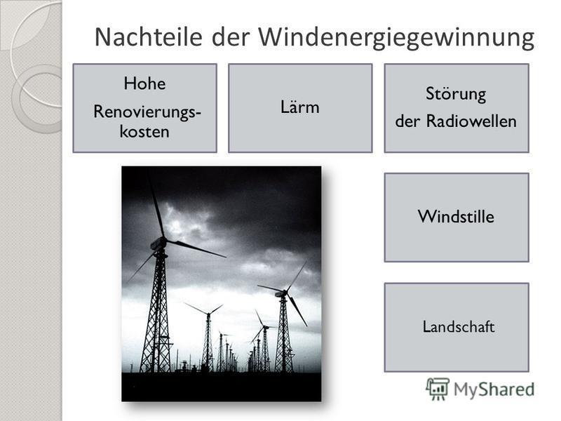 Nachteile der Windenergiegewinnung Hohe Renovierungs- kosten Windstille Störung der Radiowellen Lärm Landschaft