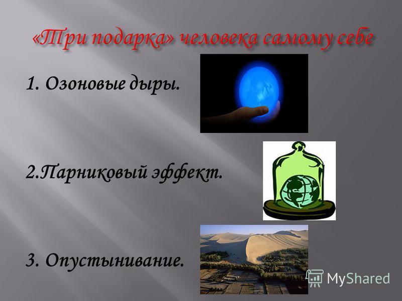 1. Озоновые дыры. 2. Парниковый эффект. 3. Опустынивание.