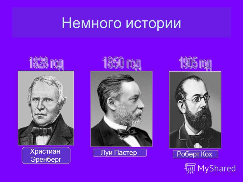 Христиан Эренберг Луи Пастер Роберт Кох