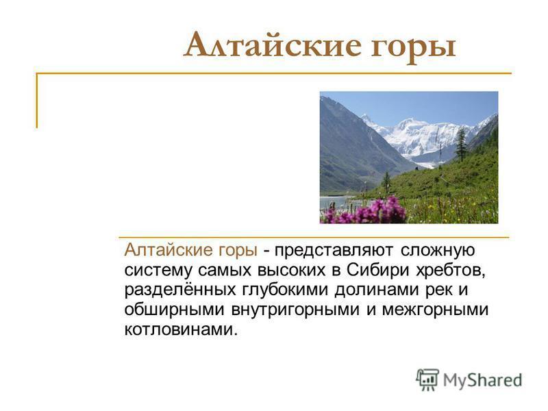Алтайские горы Алтайские горы - представляют сложную систему самых высоких в Сибири хребтов, разделённых глубокими долинами рек и обширными внутри горными и межгорными котловинами.