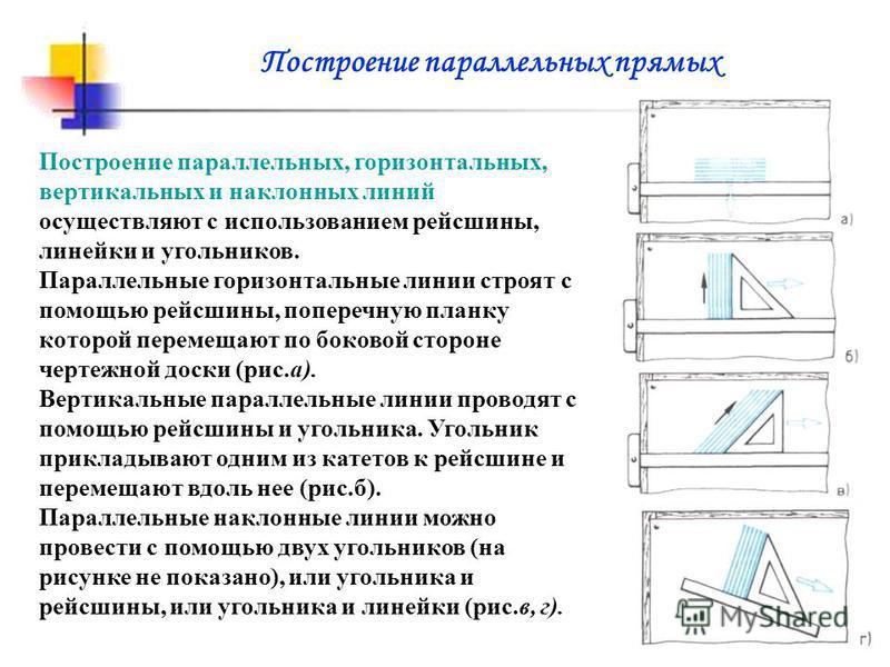Построение параллельных, горизонтальных, вертикальных и наклонных линий осуществляют с использованием рейсшины, линейки и угольников. Параллельные горизонтальные линии строят с помощью рейсшины, поперечную планку которой перемещают по боковой стороне