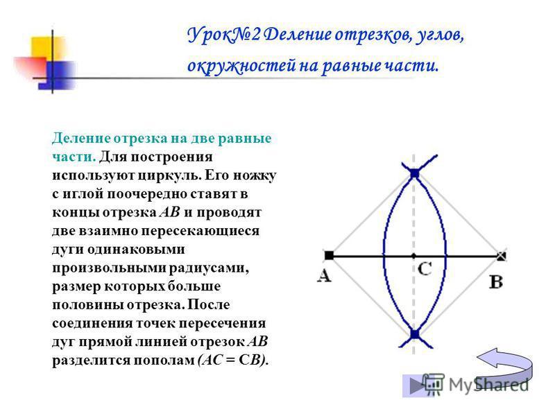 Урок 2 Деление отрезков, углов, окружностей на равные части. Деление отрезка на две равные части. Для построения используют циркуль. Его ножку с иглой поочередно ставят в концы отрезка АВ и проводят две взаимно пересекающиеся дуги одинаковыми произво
