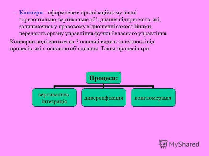 –Концерн – оформлене в організаційному плані горизонтально-вертикальне обєднання підприємств, які, залишаючись у правовому відношенні самостійними, передають органу управління функції власного управління. Концерни поділяються на 3 основні види в зале