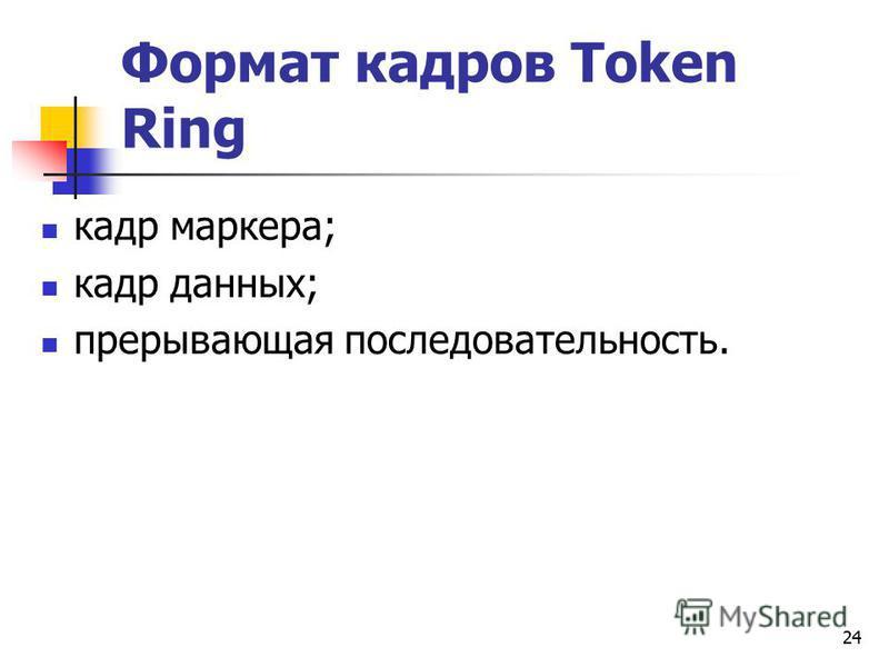 24 Формат кадров Token Ring кадр маркера; кадр данных; прерывающая последовательность.