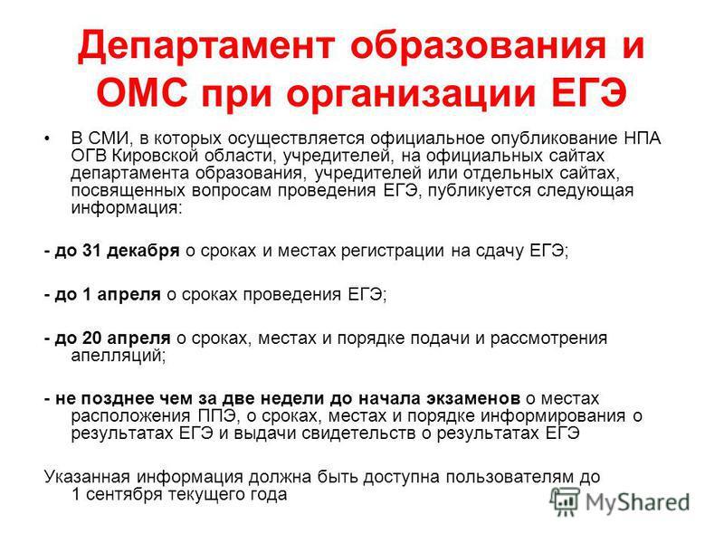 Департамент образования и ОМС при организации ЕГЭ В СМИ, в которых осуществляется официальное опубликование НПА ОГВ Кировской области, учредителей, на официальных сайтах департамента образования, учредителей или отдельных сайтах, посвященных вопросам