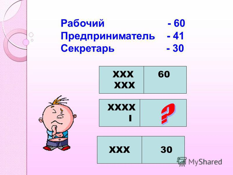 Рабочий - 60 Предприниматель - 41 Секретарь - 30 XXX 60 XXX XXXX I ? XXX 30