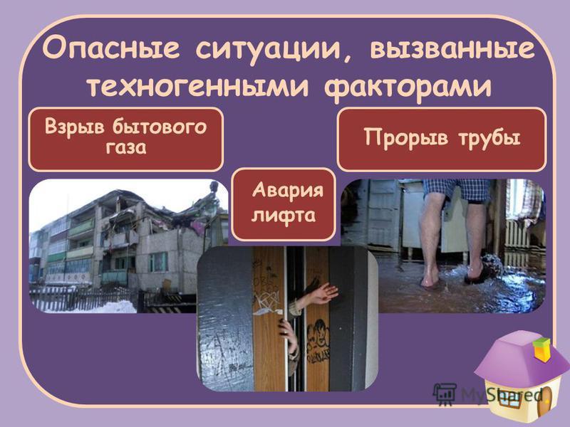 Опасные ситуации, вызванные техногенными факторами Прорыв трубы Взрыв бытового газа Авария лифта