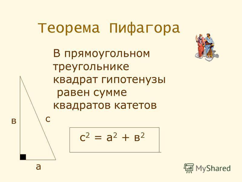 Теорема Пифагора а в с В прямоугольном треугольнике квадрат гипотенузы равен сумме квадратов катетов с 2 = а 2 + в 2