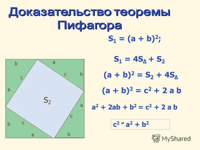 a b c a bc a b c a b c S 1 = (a + b) 2 ; S 1 = 4S + S 2 (a + b) 2 = S 2 + 4S (a + b) 2 = с 2 + 2 a b a 2 + 2ab + b 2 = с 2 + 2 a b c 2 = a 2 + b 2 S2S2