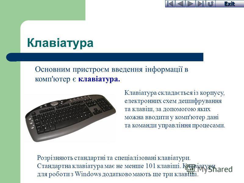 Exit Практична частина заняття Знайомство з клавіатурою