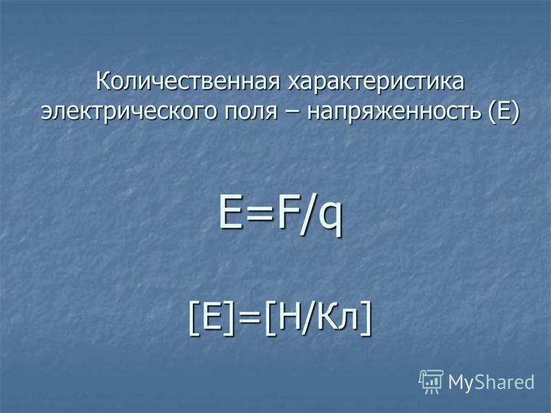 Количественная характеристика электрического поля – напряженность (Е) Е=F/q [E]=[Н/Кл]