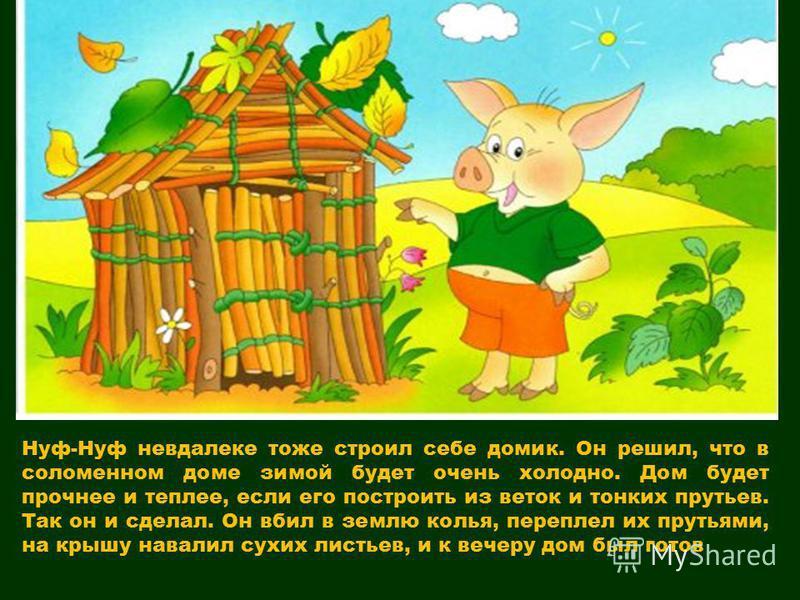 Нуф-Нуф невдалеке тоже строил себе домик. Он решил, что в соломенном доме зимой будет очень холодно. Дом будет прочнее и теплее, если его построить из веток и тонких прутьев. Так он и сделал. Он вбил в землю колья, переплел их прутьями, на крышу нава
