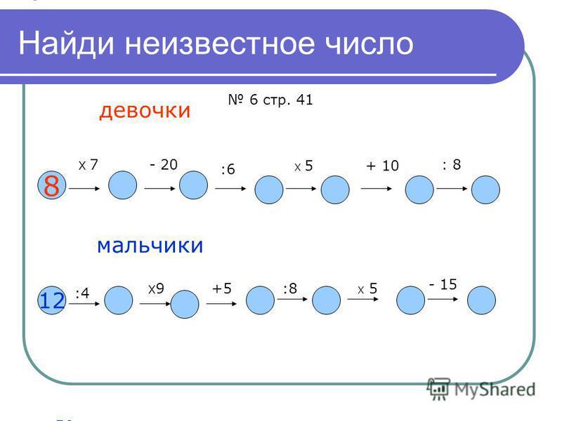 Найди неизвестное число 8 Х 7- 20 :6 Х 5+ 10 : 8 56 36 63040 5 12 :4 Х9Х9+5:8 Х 5 - 15 3 27 32 4 20 5 девочки мальчики 6 стр. 41