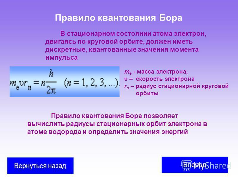 Правило квантования Бора В стационарном состоянии атома электрон, двигаясь по круговой орбите, должен иметь дискретные, квантованные значения момента импульса m e - масса электрона, υ – скорость электрона r n – радиус стационарной круговой орбиты Пра
