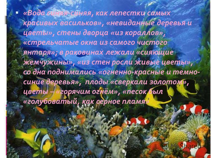 «Вода синяя-синяя, как лепестки самых красивых васильков», «невиданные деревья и цветы», стены дворца «из кораллов», «стрельчатые окна из самого чистого янтаря»; в раковинах лежали «сияющие жемчужины», «из стен росли живые цветы», со дна поднимались