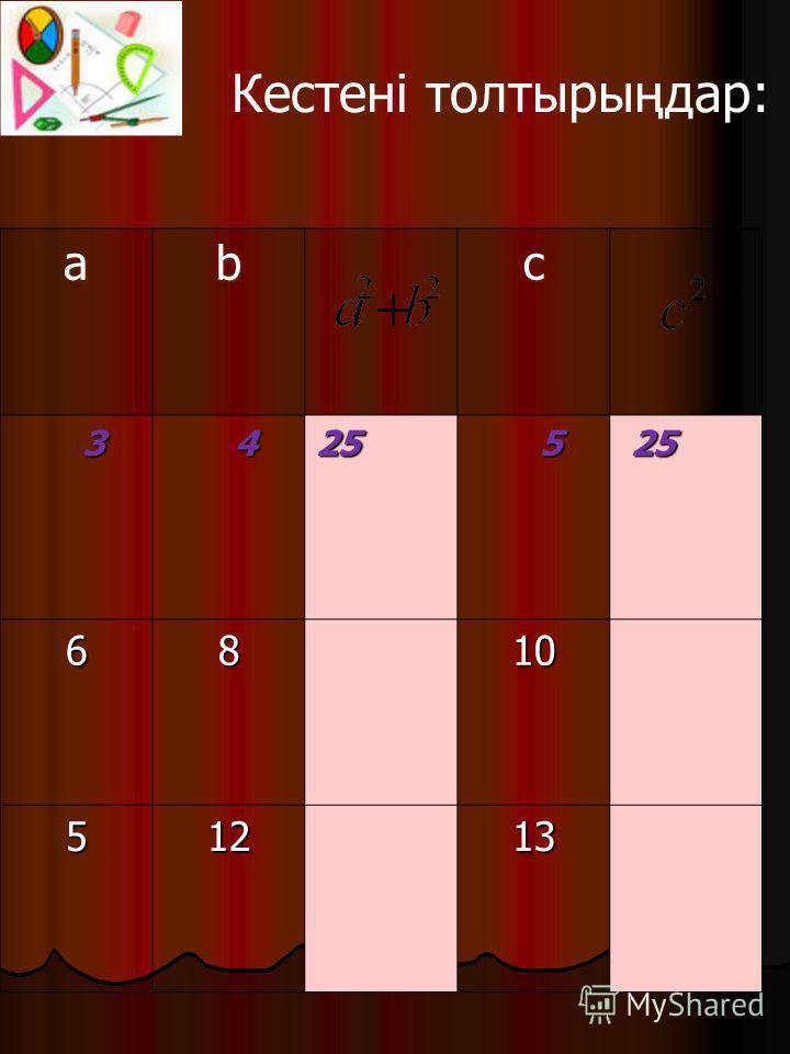 abc 3 425 5 25 25 6810 51213 Кестені толтырыңдар: