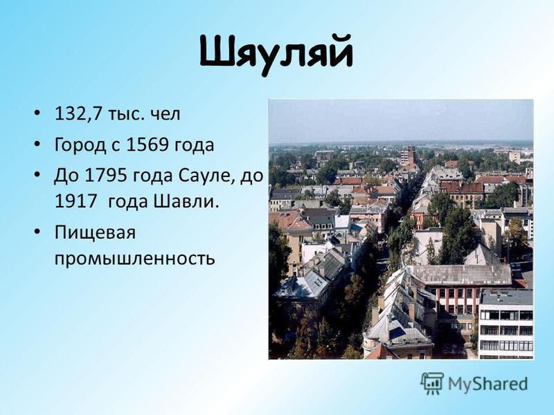 Шяуляй 132,7 тыс. чел Город с 1569 года До 1795 года Сауле, до 1917 года Шавли. Пищевая промышленность