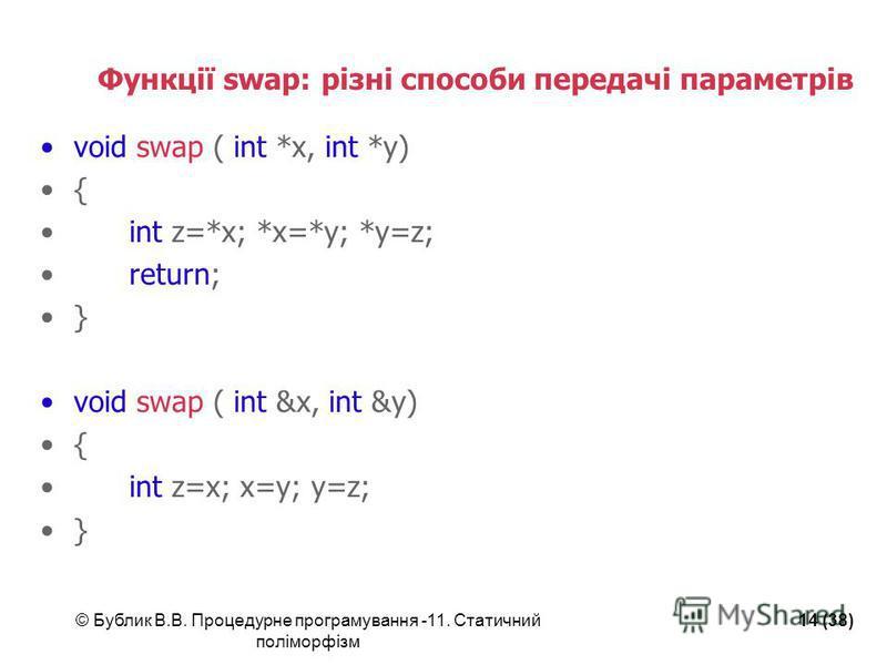 © Бублик В.В. Процедурне програмування -11. Статичний поліморфізм 14 (38) Функції swap: різні способи передачі параметрів void swap ( int *x, int *y) { int z=*x; *x=*y; *y=z; return; } void swap ( int &x, int &y) { int z=x; x=y; y=z; }