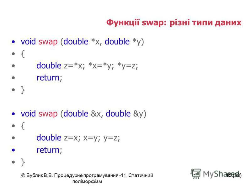 © Бублик В.В. Процедурне програмування -11. Статичний поліморфізм 15 (38) Функції swap: різні типи даних void swap (double *x, double *y) { double z=*x; *x=*y; *y=z; return; } void swap (double &x, double &y) { double z=x; x=y; y=z; return; }
