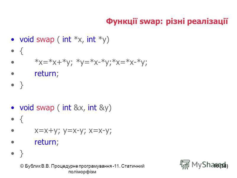 © Бублик В.В. Процедурне програмування -11. Статичний поліморфізм 16 (38) Функції swap: різні реалізації void swap ( int *x, int *y) { *x=*x+*y; *y=*x-*y;*x=*x-*y; return; } void swap ( int &x, int &y) { x=x+y; y=x-y; x=x-y; return; }