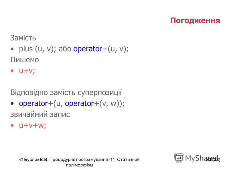 © Бублик В.В. Процедурне програмування -11. Статичний поліморфізм 23 (38) Погодження Замість plus (u, v); або operator+(u, v); Пишемо u+v; Відповідно замість суперпозиції operator+(u, operator+(v, w)); звичайний запис u+v+w;