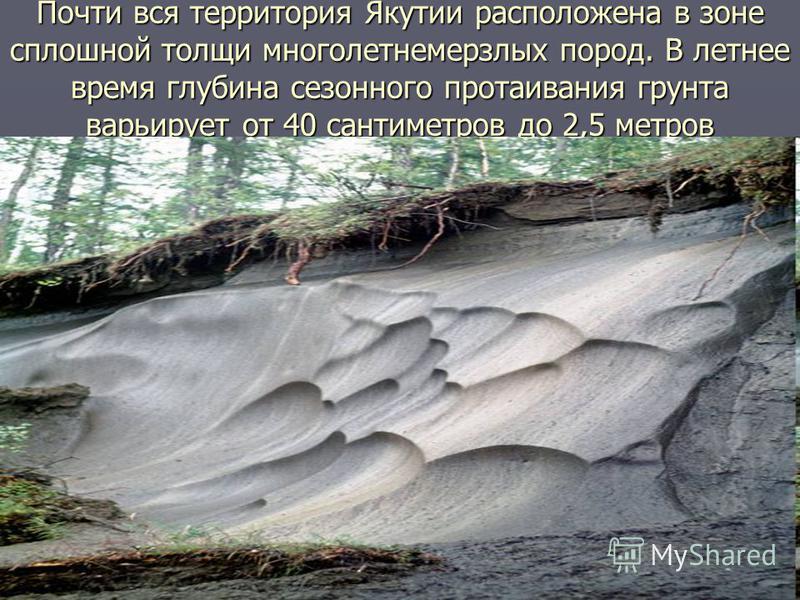 Почти вся территория Якутии расположена в зоне сплошной толщи многолетнемерзлых пород. В летнее время глубина сезонного протаивания грунта варьирует от 40 сантиметров до 2,5 метров