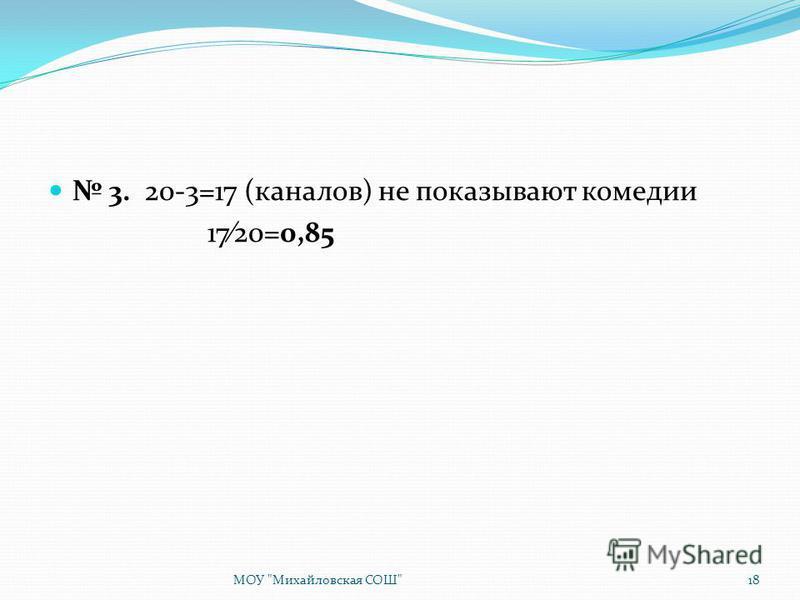 3. 20-3=17 (каналов) не показывают комедии 1720=0,85 МОУ Михайловская СОШ18