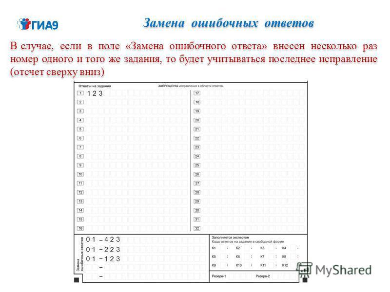 Замена ошибочных ответов В случае, если в поле «Замена ошибочного ответа» внесен несколько раз номер одного и того же задания, то будет учитываться последнее исправление (отсчет сверху вниз) 1 2 3 4 2 30 1 2 2 30 1 1 2 30 1